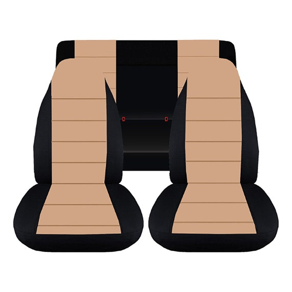 Jeep Wrangler Seat Covers >> Fit 87 95 Jeep Wrangler Yj Complete Seat Cover Set Made By Designcovers In Black Tan Centered With Safari Logo