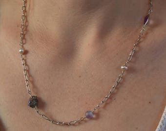 Delicate Freshwater Pearl, Pyrite, Amethyst, Glass, and Sterling Silver 23""