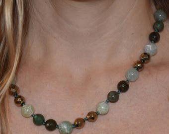 """Earthy Hand Knotted, Jade, Jasper, Hematite, and Vermeil Necklace """"20"""
