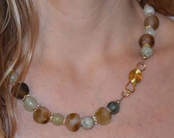"""Sparkly Gorgeous African Recycled Glass, Jade, Crystal, and Vermeil 21"""""""