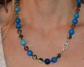 """Gorgeous Agate, Crystal, and Sterling Silver Necklace 22"""""""