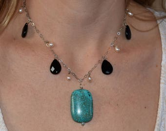 """Delicate Freshwater Pearl, Sterling Silver, and Onyx Chain with a Magnesite Statement Pendent 18"""""""