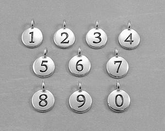 Add a Number Charm - Silver Plated Number Charms