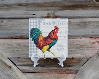Fox and Chicken tile in Periwinkle Purple