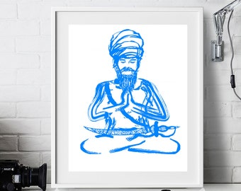 Meditation Chardi Kala (Light Blue Print)