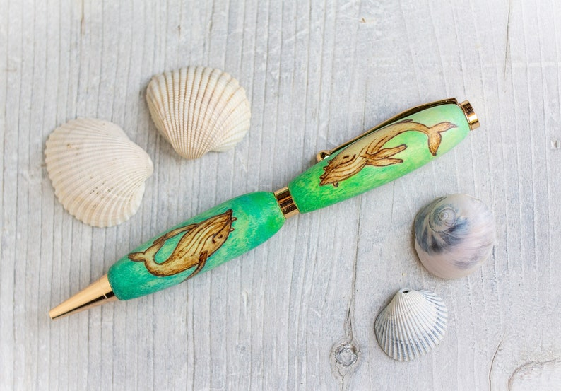 Hand Drawn Humpback Whale Original Art Custom Ballpoint Wood Pen or Mechanical Pencil Refillable Hand Painted Handcrafted Handmade
