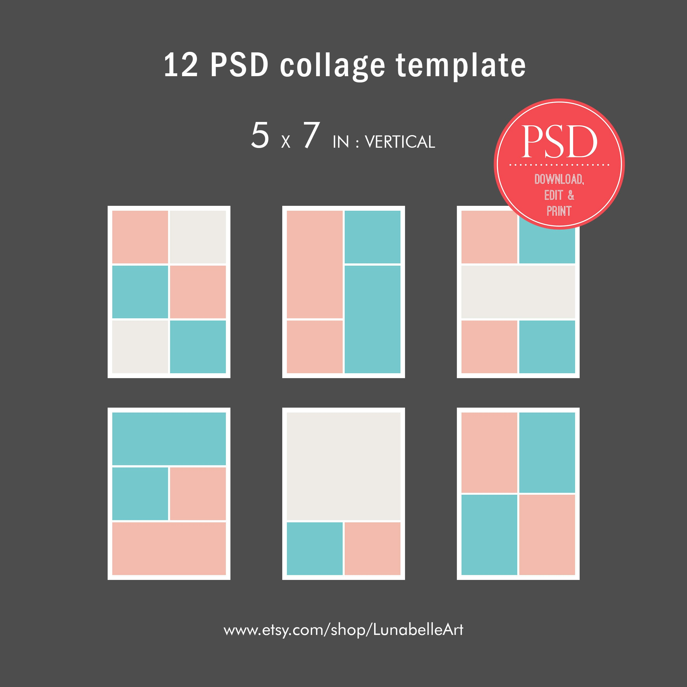 Storyboard 5x7 Photo Collage Template Photo Album Template Etsy