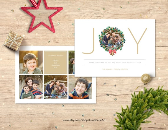 Christmas Collage Template Christmas Card Template Etsy