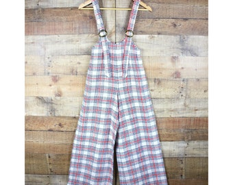 44d15940ed8 Vintage 1970s Bell Bottom Wool Plaid Overalls
