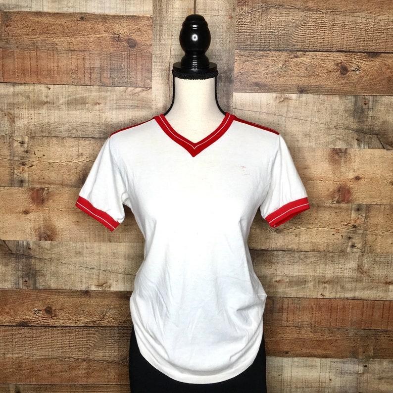 0e1368b596456 Vintage 1980s Nike V-Neck Ringer T Shirt, Red, Stripe, Retro, Swoosh,  Athletic, Sports, Men's, Women's, Short Sleeve, Tee