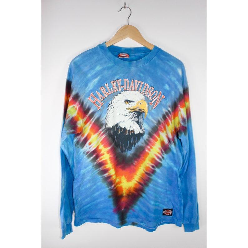 Vintage Harley Davidson Tie Dye Long Sleeve Shirt Bald Eagle Etsy