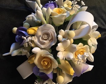Rose and Blossom Bouquet Cake Topper