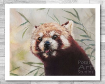 """Red Panda Print (""""Max"""") Giclee Print Multiple Sizes Available 5x7 