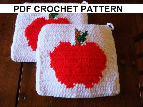 Apple Potholder Pdf Crochet Pattern Graph And Written Etsy