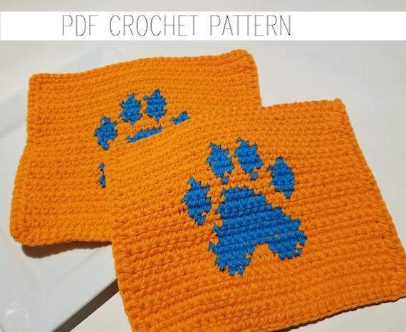Pawprint Washcloth Crochet Pattern Single Crochet Sc Graph Etsy