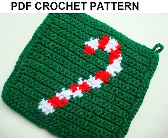 Candy Cane Potholder Pdf Crochet Pattern Christmas Gift Pot Etsy