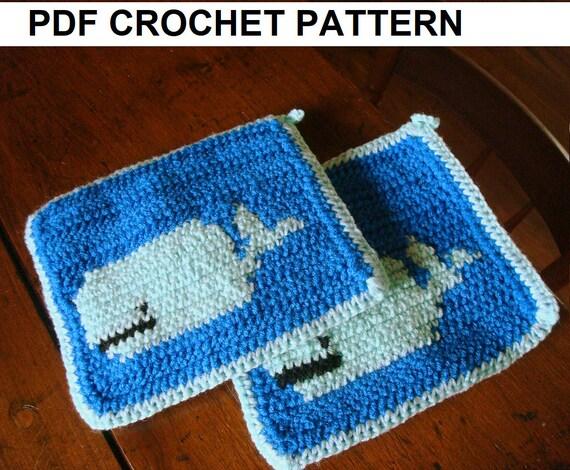 Whale Potholder Crochet Pattern Single Crochet Graph Pattern Etsy
