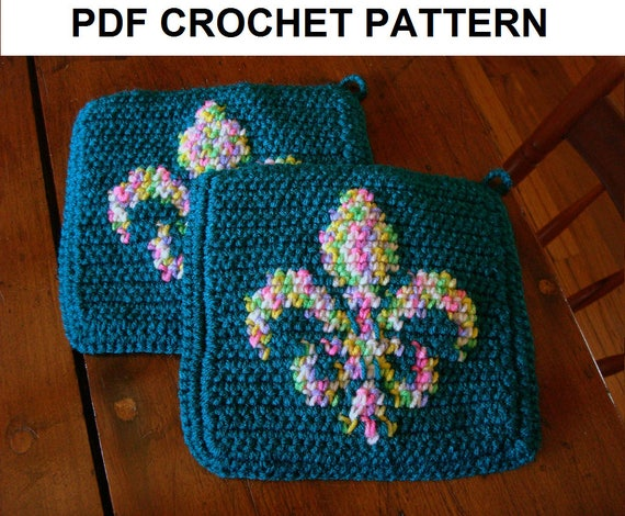 Fleur De Lis Potholder Pdf Crochet Pattern Flower De Luce Pot Etsy