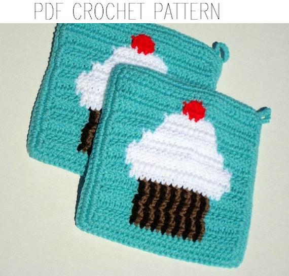 Cherry Cupcake Potholder Crochet Pattern Single Crochet Sc Etsy
