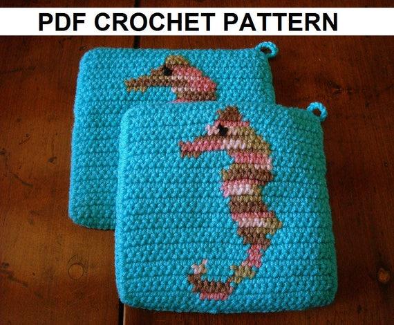 Seahorse Potholder Pdf Crochet Pattern Sea Horse Pot Holder Etsy