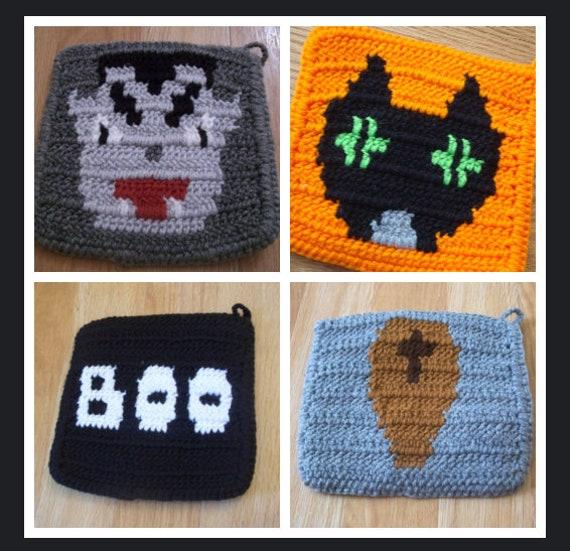 Halloween Decoration Crochet potholder hotpad BOO Ghost White Black