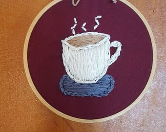 """Coffee cup hand stitched embroidery -maroon background in a 4"""" wooden hoop"""