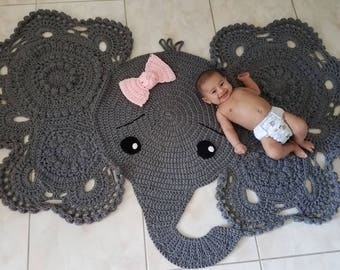 elephant rug/childrens rug/FREE SHIPPING in US/nursery rug/accent rug/gray rug/kids rug/area rug