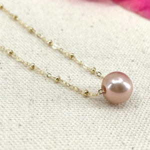 Freshwater Pink Pearl Necklace Edison Pearl Floating Satellite Necklace Single Edison Pink Pearl Necklace