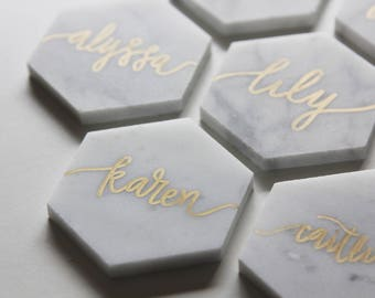Custom Hand-Lettered White Marble Hexagon Tile Place Cards