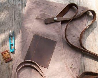 Canvas leather Apron, Shop Apron, Workshop Apron, Barista Apron, Artisan Apron, Artist Apron, Cooks Apron, Cross back, Gift for her