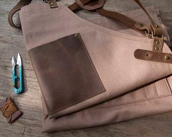Canvas leather Apron, Shop Apron, Workshop Apron, Barista Apron, Artisan Apron, Artist Apron, Cooks Apron, Cross back, Gift for him