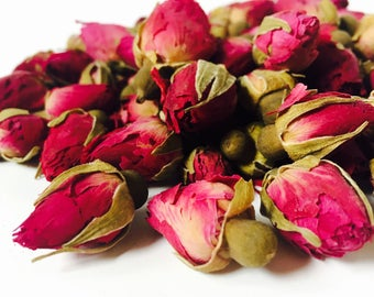 Dried Rose Buds Whole Pretty Dark Pink Organic Flowers 1.0 oz