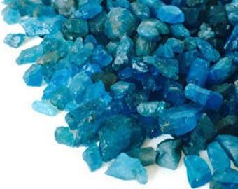 10 GRAMS Dark Blue Raw Apatite Crystals Stones Rough Small Tiny Grid Crystal Healing