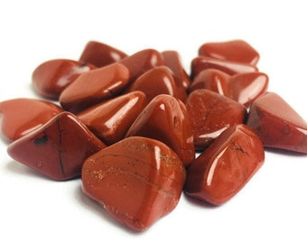 1 Small Tumbled Red Jasper Orange Crystal Gemstone Polished