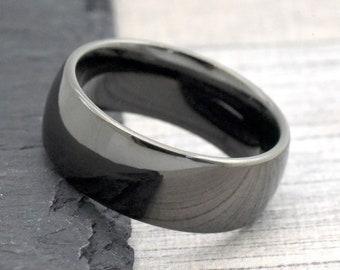 Dark Grey Wedding Band Gunmetal Color Men S Wedding Band Etsy