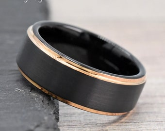 Promise Ring, Mens Promise Ring Rose Gold, Mens Ring, Black Tungsten with Rose Gold Edge Ring, Free Laser Engraving, Mens Wedding Band