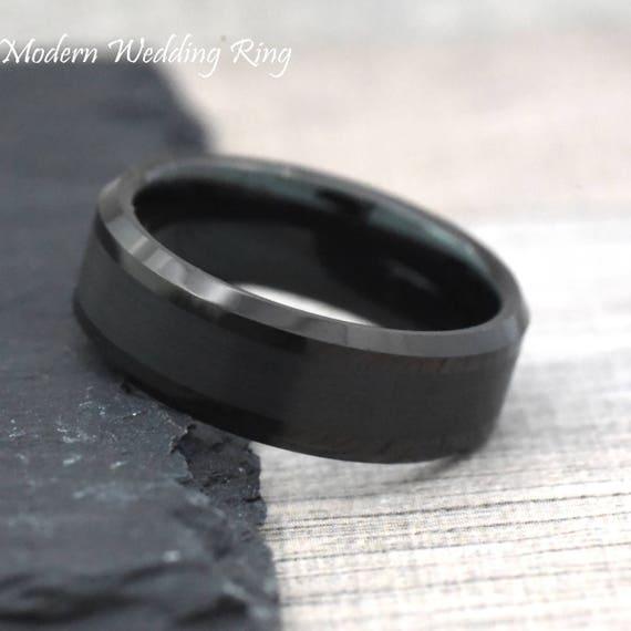 Black Tungsten Wedding Ring Mens Ring Mens Band Mens Etsy
