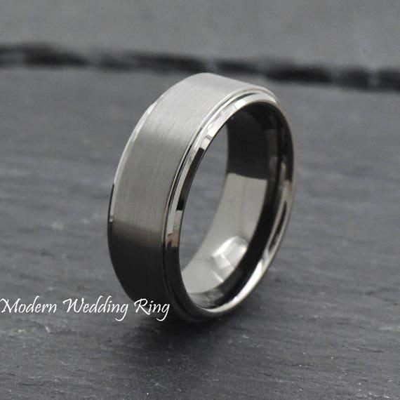 Gunmetal Ring Mens Wedding Band 8mm Engagement Ring Tungsten Carbide Blue Wedding Band Polished Stepped Edges Man Gunmetal Wedding Band