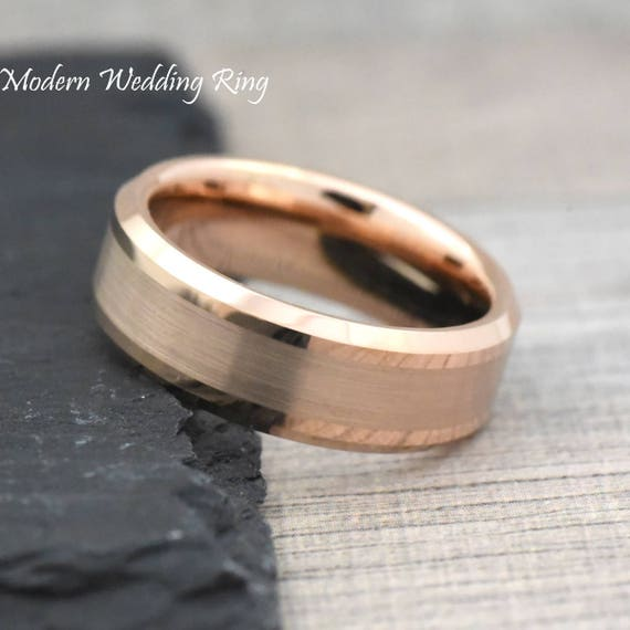 Rose Gold Tungsten Wedding Band Mens Mens Rose Gold Wedding Etsy