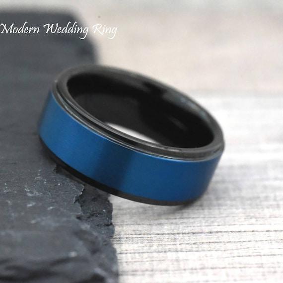 Mens Blue Wedding Band Trendy Wedding Ring Mens Male Wedding Etsy