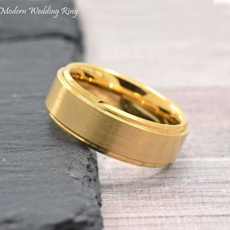 Wedding Rings For Men.Mens Gold Wedding Ring Wedding Ring Mens Gold Tungsten Wedding Band Men Tungsten Carbide Brushed Finish Promise Ring Rings For Men