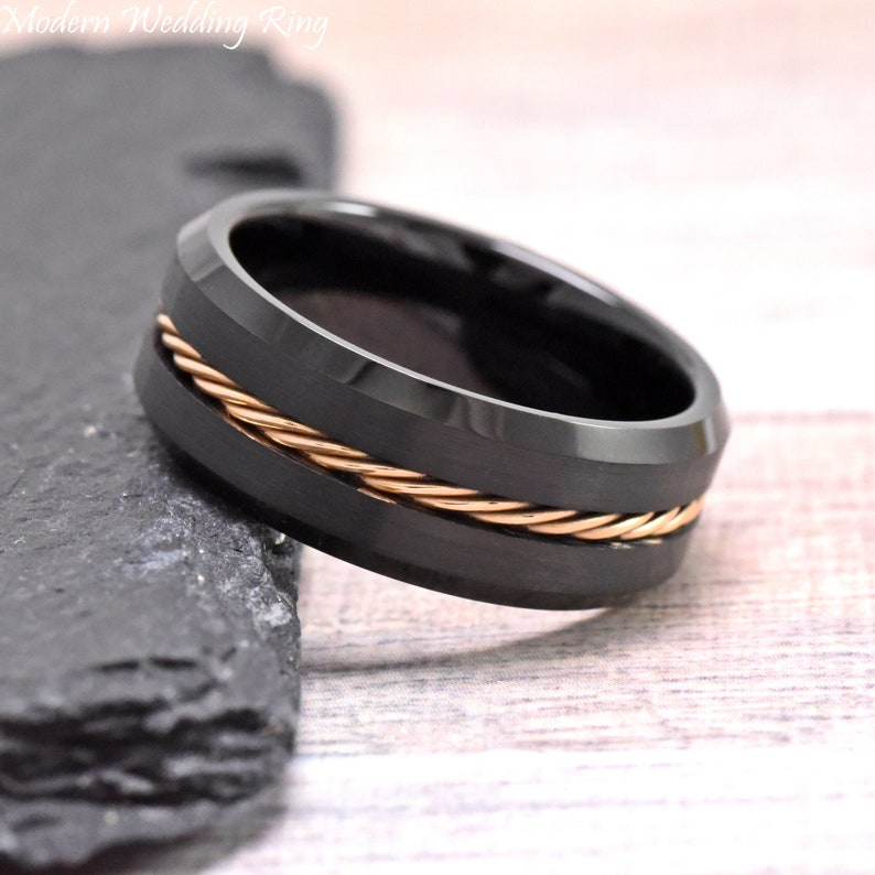 8mm Tungsten Wedding Ring Mens Tungsten Ring Mens Ring Rose Gold IP Rope Inlay Black Tungsten Wedding Band Men Brushed Mens Ring