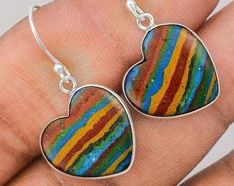 Bohemian dangle earrings in 925 sterling silver and Rainbow calsilica gemstone. Rainbow calsilica gemstone and sterling silver earrings