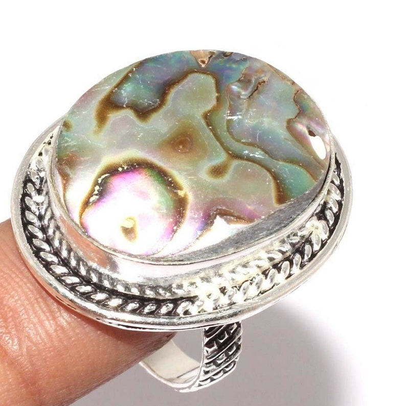 US size 7.25 Women/'s ring in Silver 925 and abalone Ormeau . size 55