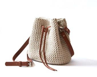 0faaecf4d86 Crochet bucket bag Boho bag with tassel Everyday handbag Woven shoulder bag  Casual beige crossbody bucket bag Women's gift