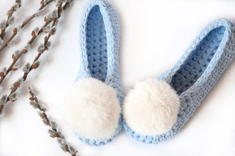 7cf216f70 Crochet cute house shoes with pom pom Fur slippers Handmade   Etsy