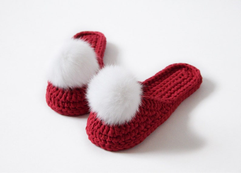 6428cca0d Crochet women cozy red slippers with pom poms Gift for mom   Etsy
