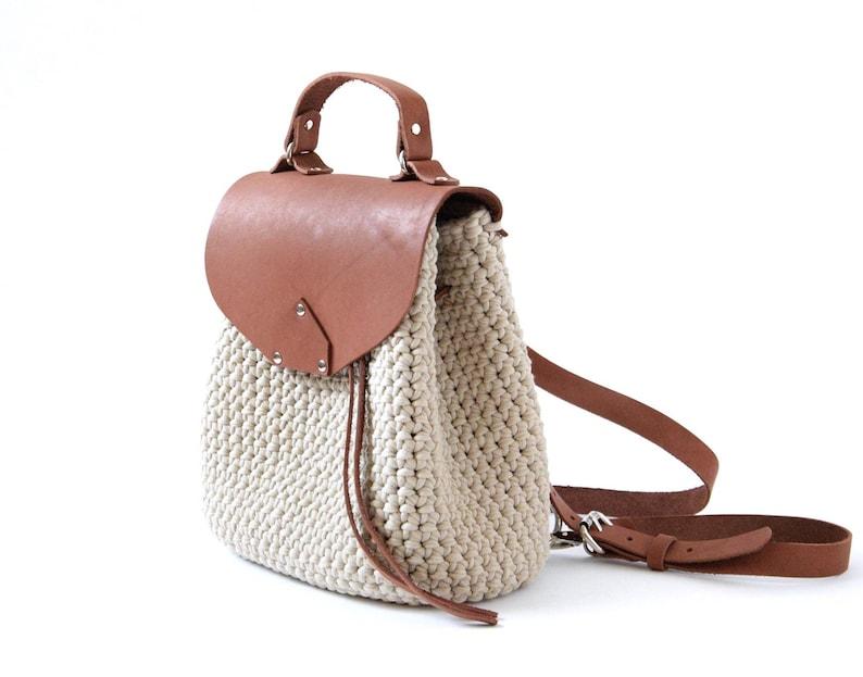 Brown crochet bucket bag Women small backpack Beige cotton handbag Travel fashion accessories Boho crossbody purse School rucksack
