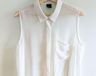 a2004f63f85d01 Sheer Silk Blouse, Vintage White Silk Blouse, Short Sleeve Tank Blouse