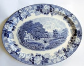 Enoch Wood 39 s Woods Ware 39 English Scenery 39 Blue and White Transferware Meat Platter